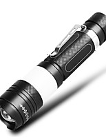 cheap -Handheld Flashlights / Torch Waterproof 800 lm LED LED 1 Emitters Waterproof Portable Camping / Hiking / Caving Everyday Use Cycling / Bike Black