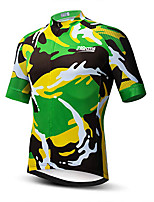 cheap -21Grams Men's Short Sleeve Cycling Jersey 100% Polyester Dark Green Geometic Bike Jersey Top Mountain Bike MTB Road Bike Cycling UV Resistant Breathable Quick Dry Sports Clothing Apparel / Stretchy