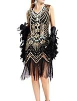 cheap -Dance Costumes Dresses / 1920s / The Great Gatsby Women's Performance Terylene Tassel / Paillette Sleeveless Dress