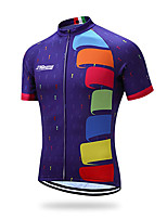 cheap -21Grams Men's Short Sleeve Cycling Jersey 100% Polyester Violet Geometic Bike Jersey Top Mountain Bike MTB Road Bike Cycling UV Resistant Breathable Quick Dry Sports Clothing Apparel / Stretchy