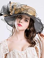 cheap -Queen Elizabeth Audrey Hepburn Retro Vintage Kentucky Derby Hat Fascinator Hat Women's Organza Costume Hat Golden / Purple / Burgundy Vintage Cosplay Party Party Evening