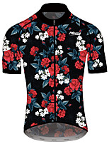 cheap -21Grams Men's Women's Short Sleeve Cycling Jersey 100% Polyester Black / Red Floral Botanical Bike Jersey Top Mountain Bike MTB Road Bike Cycling Quick Dry Sports Clothing Apparel / Race Fit
