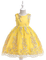 cheap -Princess Dress Flower Girl Dress Girls' Movie Cosplay A-Line Slip Cosplay Yellow / Light Purple / Red Dress Halloween Carnival Masquerade Tulle Polyester