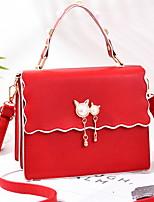 cheap -Women's Zipper PU Crossbody Bag / Top Handle Bag Geometric Pattern Black / Wine / Light Gray