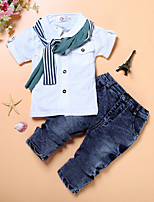 cheap -Kids Boys' Basic Solid Colored Short Sleeve Clothing Set Blue
