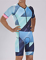 cheap -21Grams Men's Short Sleeve Triathlon Tri Suit Blue+Pink Patchwork Bike Clothing Suit UV Resistant Breathable Quick Dry Sweat-wicking Sports Patchwork Mountain Bike MTB Road Bike Cycling Clothing