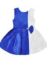 cheap -Kids Toddler Girls' Active Basic Color Block Bow Patchwork Sleeveless Knee-length Dress Blue