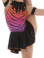 cheap -Figure Skating Dress Women's Girls' Ice Skating Dress Black Patchwork Spandex High Elasticity Training Competition Skating Wear Patchwork Short Sleeve Ice Skating Figure Skating