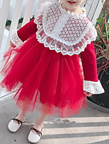 cheap -Kids Girls' Color Block Dress Red