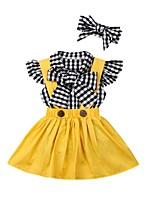 cheap -Baby Girls' Basic Plaid Sleeveless Regular Clothing Set Yellow