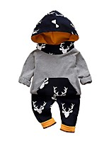 cheap -Baby Boys' Street chic Print Long Sleeve Regular Cotton Clothing Set Gray / Toddler