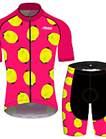 cheap -21Grams Women's Short Sleeve Cycling Jersey with Shorts Pink / Black Fruit Lemon Bike Clothing Suit Breathable 3D Pad Quick Dry Ultraviolet Resistant Reflective Strips Sports Fruit Mountain Bike MTB