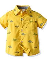 cheap -Kids Toddler Boys' Basic Street chic Geometric Animal Short Sleeve Shirt Yellow