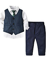 cheap -Kids Toddler Boys' Basic Street chic Birthday Party Party & Evening Solid Colored Long Sleeve Regular Regular Clothing Set Royal Blue