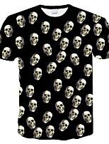 cheap -Black Summer New Style Short Sleeve T-shirt Trend Skeleton Skull Head 3D Digital Printed T-shirt