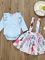 cheap -Baby Girls' Street chic Print Long Sleeve Regular Clothing Set Light Blue
