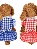 cheap -Dog Cat Dress Dog Clothes Red Blue Costume Husky Labrador Alaskan Malamute Polyester Cotton Plaid / Check Bowknot Lace Leisure Sweet XS S M L XL