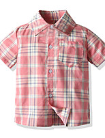 cheap -Kids Boys' Basic Patchwork Short Sleeve Shirt Blushing Pink