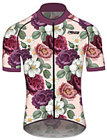 cheap -21Grams Men's Women's Short Sleeve Cycling Jersey 100% Polyester Fuchsia Floral Botanical Bike Jersey Top Mountain Bike MTB Road Bike Cycling Quick Dry Sports Clothing Apparel / Race Fit