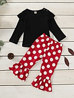 cheap -Baby Girls' Basic Polka Dot Long Sleeve Regular Clothing Set Black
