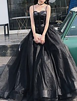 cheap -A-Line Spaghetti Strap Court Train Polyester Elegant / Black Prom / Formal Evening Dress with Pleats 2020