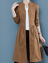 cheap -Women's Daily Fall & Winter Long Trench Coat, Solid Colored Notch Lapel Long Sleeve Polyester Brown / Navy Blue / Khaki