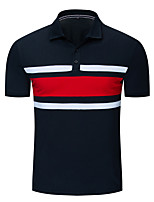 cheap -Men's Daily Weekend Basic / Street chic Polo - Color Block Black & Red Black