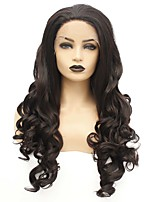 cheap -Synthetic Lace Front Wig Wavy Taylor Middle Part Lace Front Wig Long Natural Black Synthetic Hair 22-26 inch Women's Heat Resistant Women Hot Sale Black / Glueless