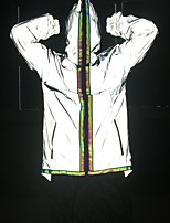 cheap -Men's Women's Stripe-Trim Full Zip Reflective Jacket Running Jacket Hoodie Jacket Cowl Neck Running Walking Jogging Reflective Breathable Soft Sportswear Jacket Hoodie Long Sleeve Activewear