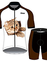 cheap -21Grams Women's Short Sleeve Cycling Jersey with Shorts Black / White Cat Animal Bike Clothing Suit Breathable 3D Pad Quick Dry Ultraviolet Resistant Reflective Strips Sports Cat Mountain Bike MTB