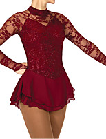 cheap -Figure Skating Dress Women's Girls' Ice Skating Dress Burgundy Patchwork Spandex High Elasticity Training Competition Skating Wear Patchwork Crystal / Rhinestone Long Sleeve Ice Skating Figure Skating