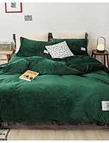 cheap -Duvet Cover Sets 4 Piece Flannel Solid Colored Light Green Flocking Contemporary