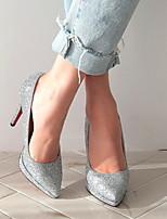 abordables -Femme Chaussures à Talons Talon Aiguille Bout rond Polyuréthane Printemps été Noir / Argent