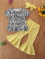 cheap -Toddler Girls' Basic Casual Floral Short Sleeve Regular Regular Clothing Set Black
