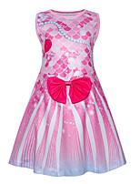 cheap -Kids Toddler Girls' Basic Cute The Little Mermaid Color Block Print Sleeveless Knee-length Dress Blushing Pink