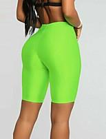 cheap -Women's High Waist Yoga Shorts Solid Color Black Fuchsia Orange Green Blue Elastane Running Fitness Gym Workout Shorts Sport Activewear Breathable Moisture Wicking Butt Lift Tummy Control High