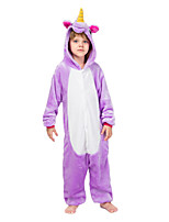cheap -Kid's Kigurumi Pajamas Unicorn Onesie Pajamas Flannelette Purple Cosplay For Boys and Girls Animal Sleepwear Cartoon Festival / Holiday Costumes