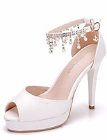 cheap -Women's Wedding Shoes Stiletto Heel Open Toe PU Spring & Summer White