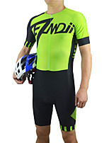 cheap -21Grams Men's Short Sleeve Triathlon Tri Suit Black / Yellow Bike UV Resistant Quick Dry Sports Solid Color Mountain Bike MTB Road Bike Cycling Clothing Apparel / Stretchy