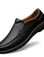 cheap -Men's Leather Shoes Nappa Leather Spring / Fall & Winter Casual / British Loafers & Slip-Ons Non-slipping Black / Brown
