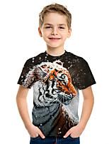 cheap -Kids Boys' Active Street chic Tiger 3D Animal Print Short Sleeve Tee Rainbow