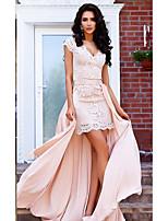 cheap -Sheath / Column Plunging Neck Court Train Stretch Satin Elegant Engagement / Prom / Wedding Guest Dress 2020 with Appliques / Sash / Ribbon