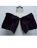 cheap -Short Sleeve Scarves Faux Fur Wedding Women's Wrap With Bowknot