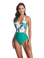 cheap -Women's Basic Green Bandeau Cheeky High Waist Bikini Swimwear - Floral Geometric Lace up Print S M L Green