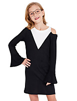 cheap -Toddler Girls' Color Block Long Sleeve Above Knee Dress Black
