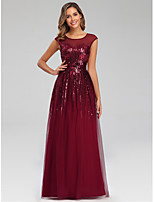 cheap -A-Line Jewel Neck Floor Length Polyester Sparkle / Elegant Engagement / Prom / Wedding Guest Dress 2020 with Sequin