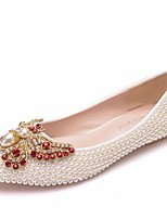 cheap -Women's Wedding Shoes Crystal Sandals Flat Heel Pointed Toe PU Spring & Summer White / Beige