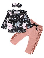 cheap -Baby Girls' Basic Floral Long Sleeve Regular Clothing Set Black