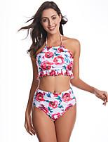 cheap -Women's Basic Blushing Pink Bandeau Cheeky High Waist Bikini Swimwear - Floral Geometric Lace up Print S M L Blushing Pink