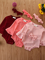 cheap -Baby Girls' Basic Solid Colored Long Sleeve Bodysuit Wine